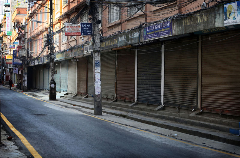 The market area wears a deserted look during a nationwide lockdown amid concerns over the spread of coronavirus infection, in Kathmandu, on Wednesday, June 10, 2020. Photo: Rajesh Gurung/THT