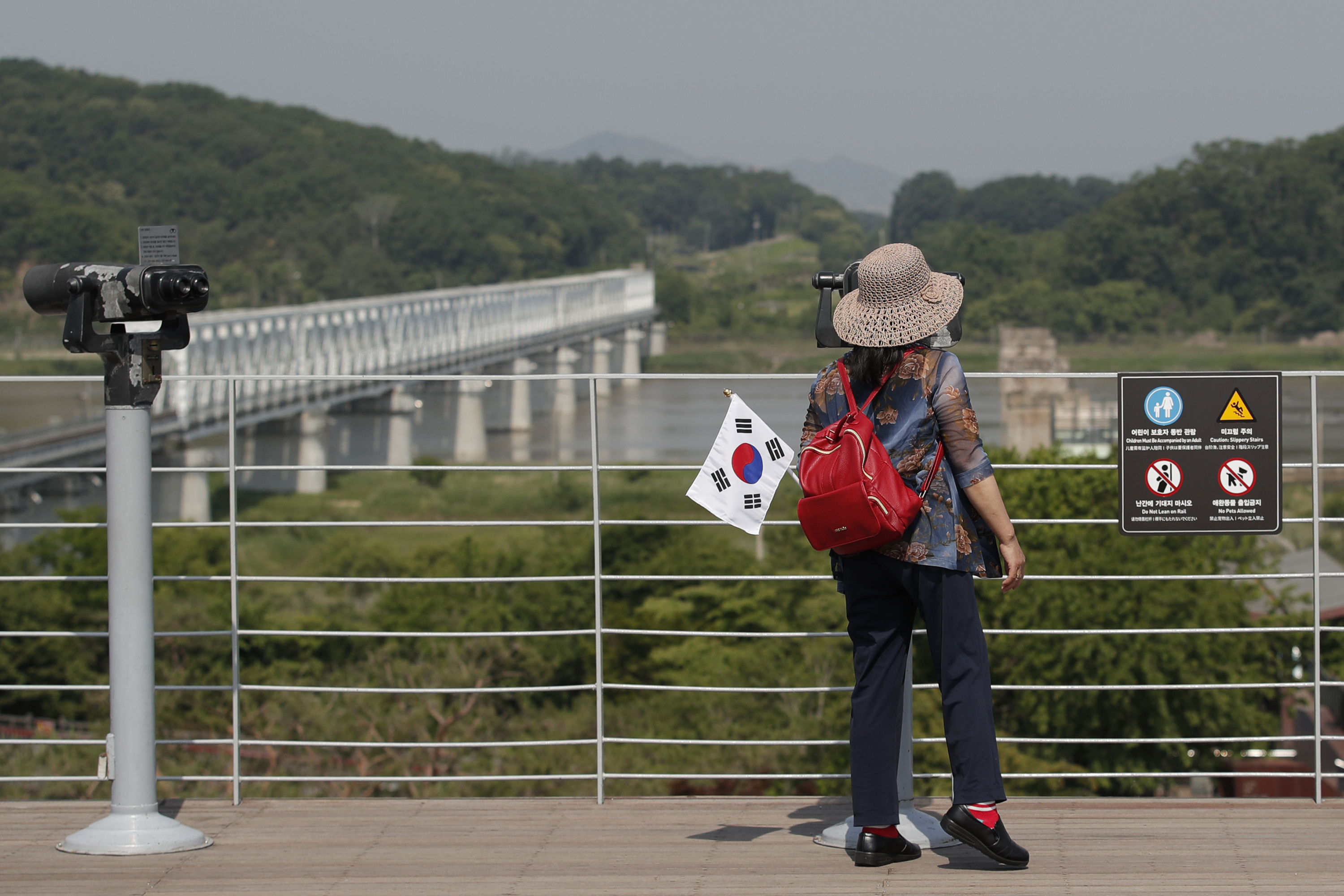 A visitor carrying a South Korean flag uses binoculars to view the northern side at the Imjingak Pavilion in Paju, South Korea, Tuesday, June 9, 2020. Photo: AP