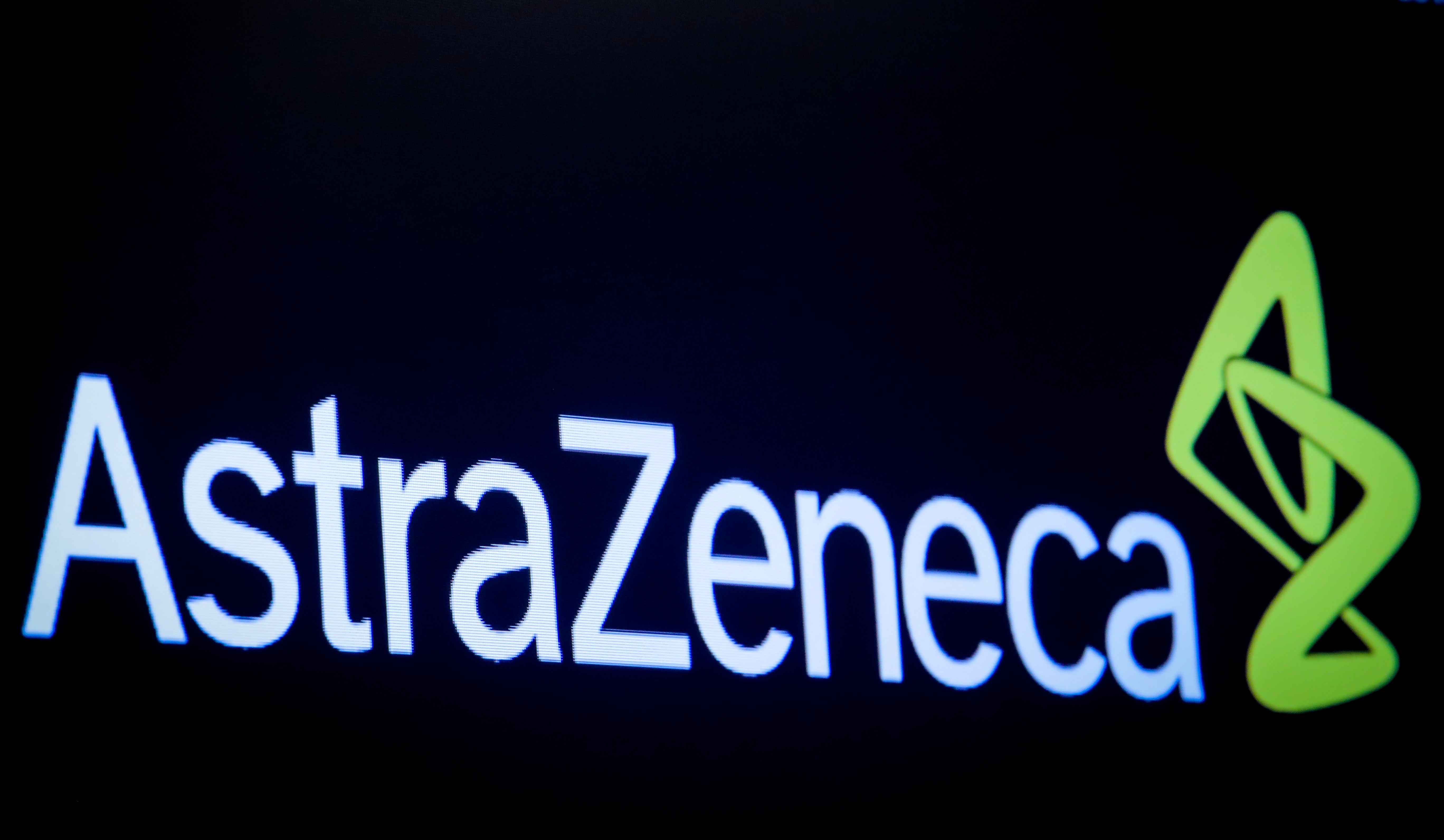 FILE - The company logo for pharmaceutical company AstraZeneca is displayed on a screen on the floor at the New York Stock Exchange (NYSE) in New York, US, April 8, 2019.  Photo: Reuters