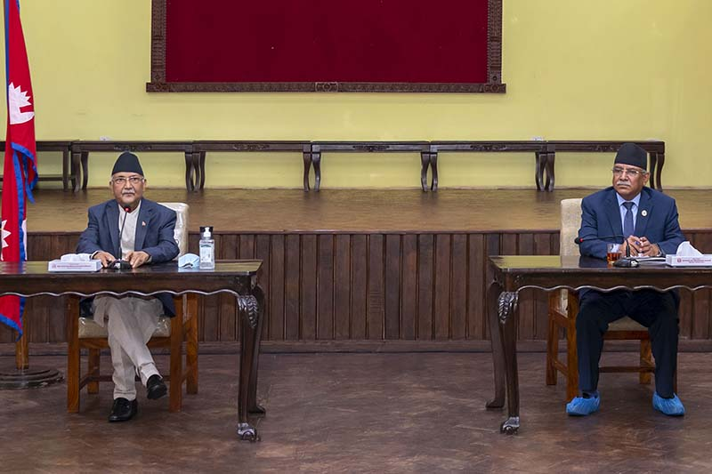 Nepal Communist Party (NCP) co-chairs Prime Minsiter KP Sharma Oli (left) and Pushpa Kamal Dahal attend the party meeting held to discuss about citizenship Bill, in Kathmandu, on Friday, June 19, 2020. Photo: Rajan Kafle/PM's private secretariat