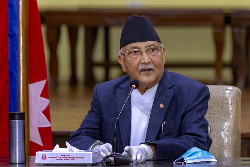Prime Minister KP Sharma Oli addressing a meeting held to consult with specialists on COVID-19 pandemic, at his officail reidence in Baluwatawr, Kathmandu, on Wednesday, June 3, 2020. Photo: Rajan Kafle/PM's Secretariat