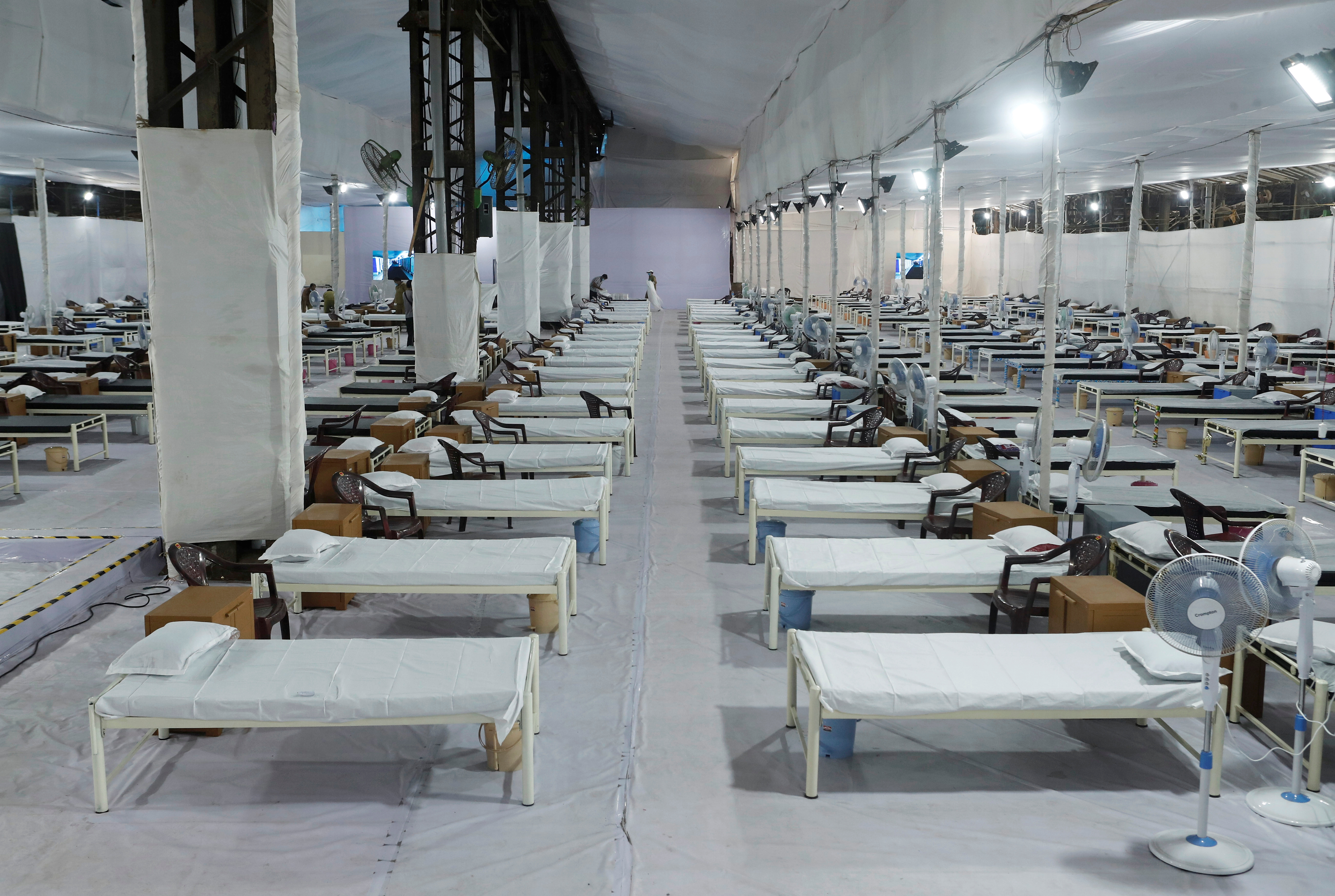 Beds are seen at a recently constructed quarantine facility for patients diagnosed with the coronavirus disease (COVID-19) in Mumbai, India, June 22, 2020. REUTERS/Francis Mascarenhas