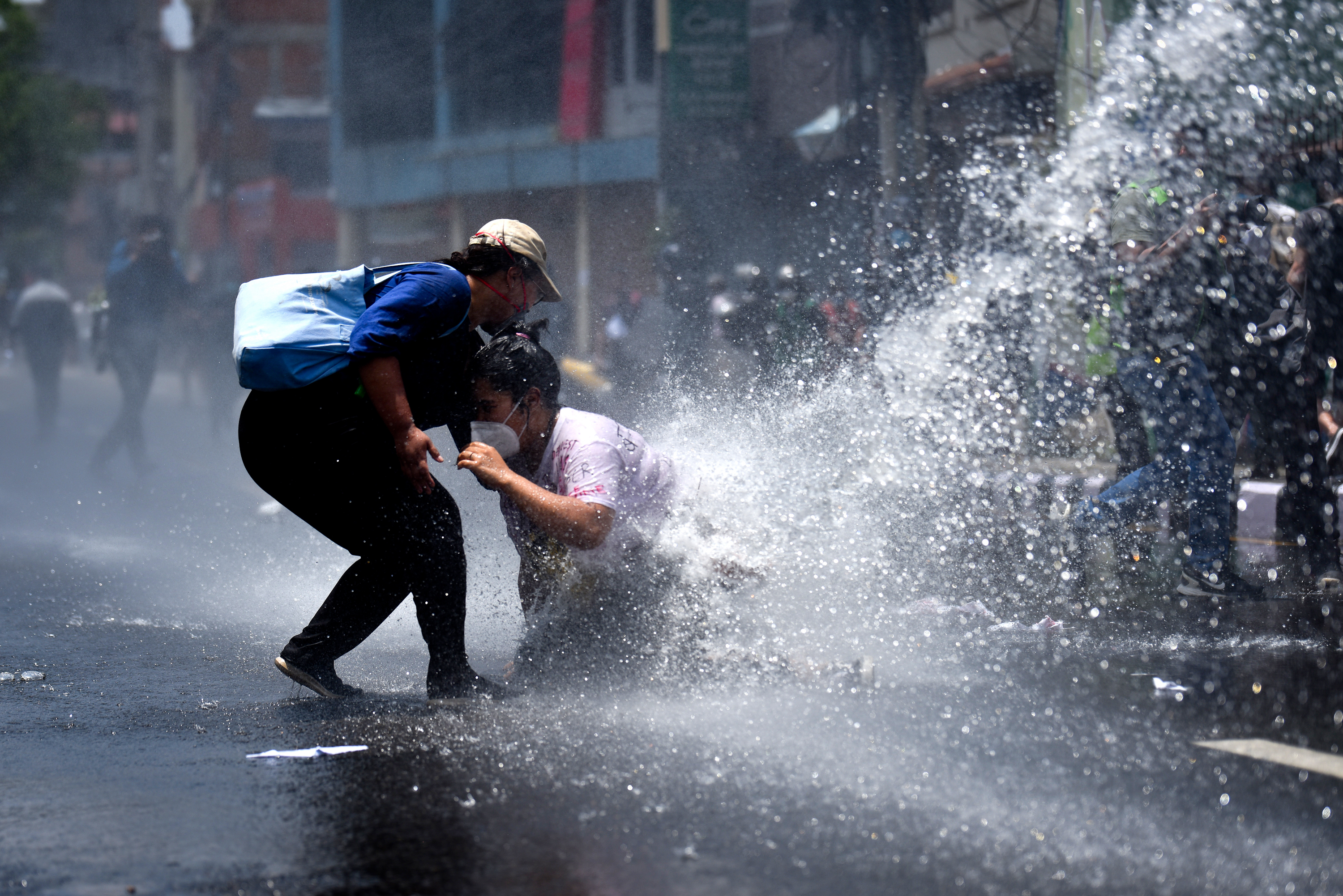 Police personnel resorted to use of force against the peaceful demonstration that was being staged near the Prime Minister's official residence, in Baluwatar, Kathmandu, on Tuesday, June 9, 2020. Photo: Naresh Shrestha/THT