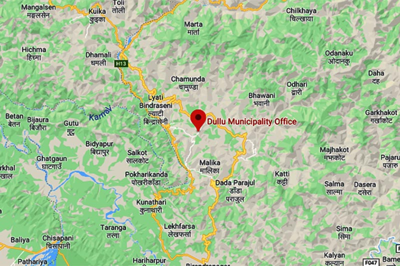 This image shows Dullu Municipality in Dailekh district. Image: Google Maps