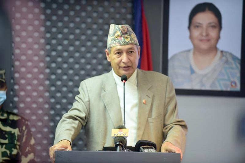 Finance Minister Yubaraj Khatiwada addressing a press conference to disclose the decisions taken by the Cabinet, organised at the Ministry of Communication and Information Technology, in Singha Durbar, Kathmandu, on Friday, June 19, 2020. Photo: RSS