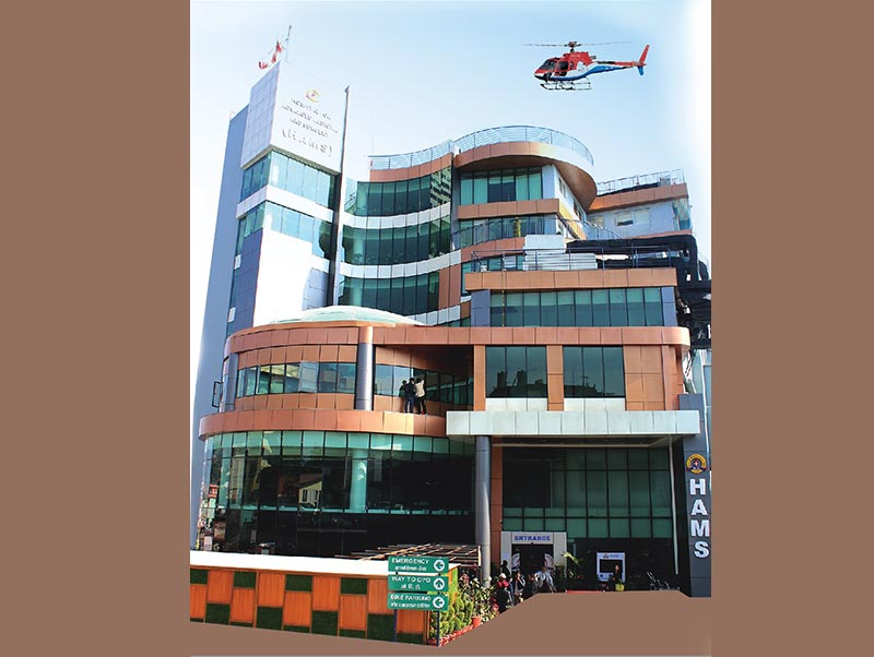 This undated image shows a helicopter over the building of the Hospital for Advanced Medicine and Surgery (HAMS), in Dhumbarahi, Kathmandu. Photo: HAMS Hospital/Facebook
