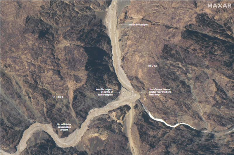 A Maxar WorldView-3 satellite image shows road construction near the Line of Actual Control (LAC) border in the eastern Ladakh sector of Galwan Valley, on June 22, 2020. Photo: Maxar Technologies via Reuters