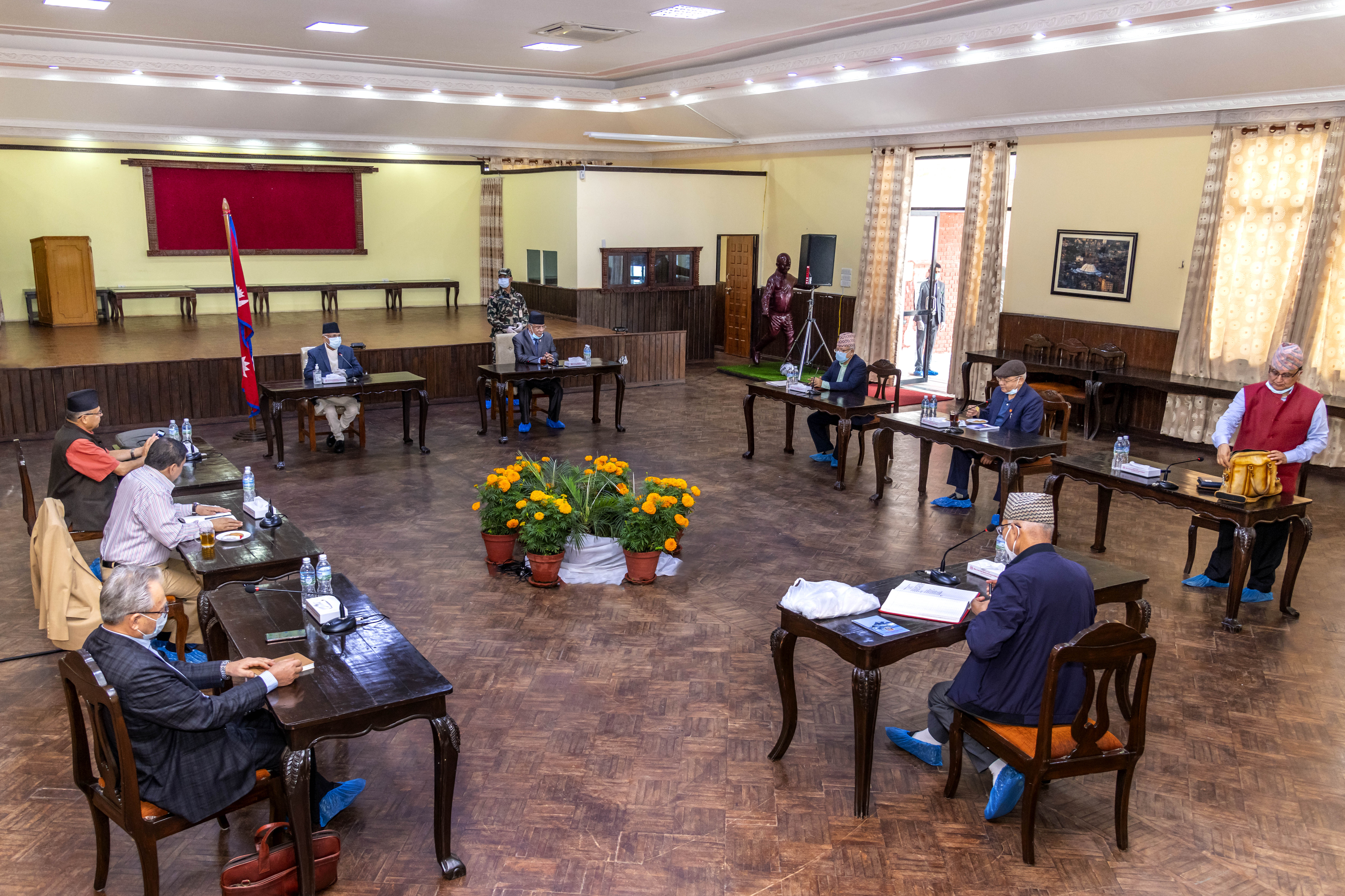 Secretariat meeting of the ruling Nepal Communist Party (NCP) underway at the Prime Minister's official residence in Baluwatar, Kathmandu, on Saturday, June 20, 2020. Photo Courtesy: Rajan Kafle/Prime Minister's Secretariat