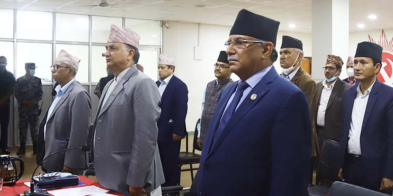 Nepal Communist Party (NCP) Co-chair Pushpa Kamal Dahal (centre) and chief of partyu2019s Training Department Ishwar Pokharel among 100 NCP leaders take part in a meeting with leaders of ruling Communist Party of China via video conferencing, at the Party's office in Dhumbarahi, Kathmandu, on June 19, 2020. Photo: RSS