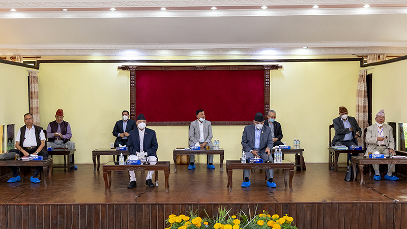Nepal Communist Party (NCP) leaders attending the partyu2019s Standing Committee meeeting at Prime Ministeru2019s official residence in Baluwatar, Kathmandu, on Saturday, June 27, 2020. Photo: Rajan Kafle/PM's Secretariat