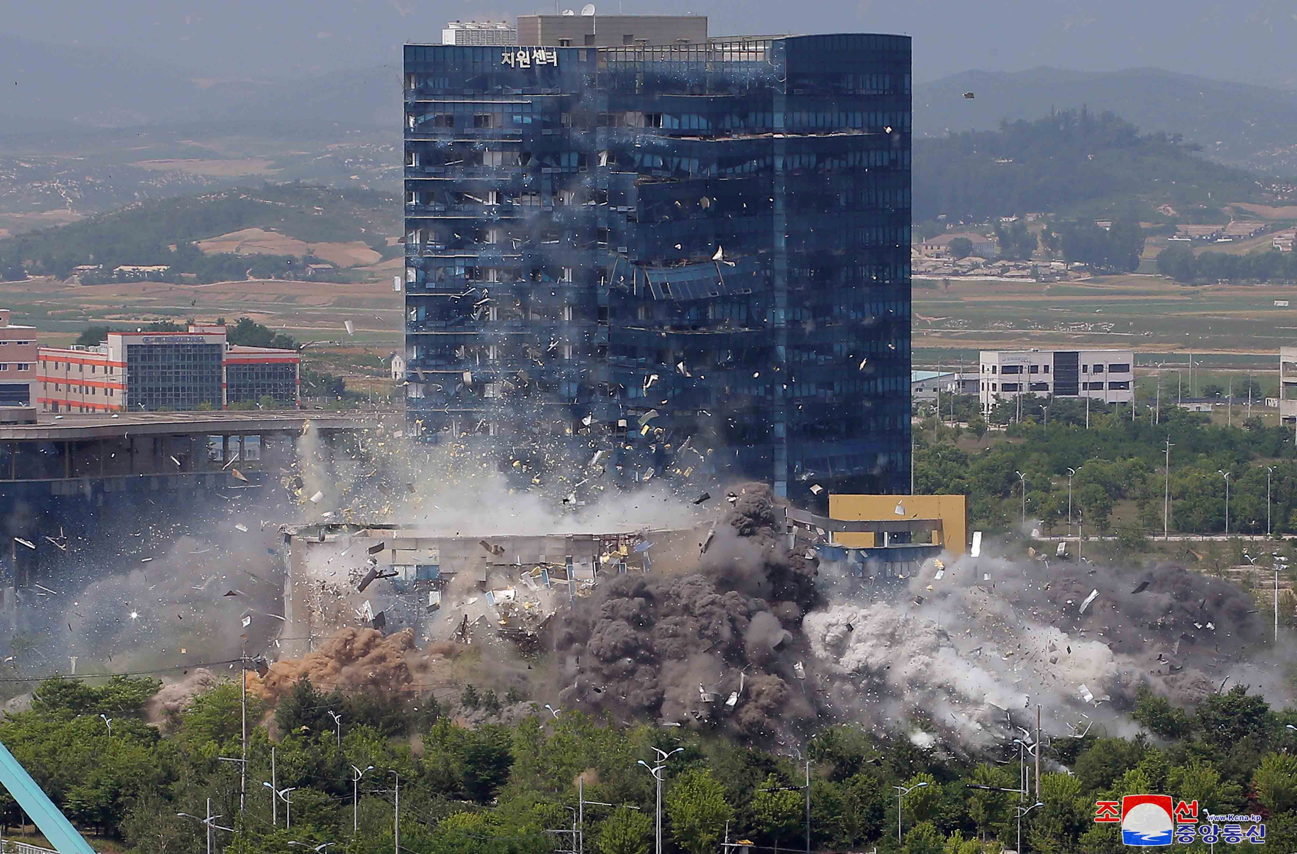 A view of an explosion of a joint liaison office with South Korea in border town Kaesong, North Korea in this picture supplied by North Korea's Korean Central News Agency (KCNA) on June 16, 2020.  Photo: KCNA via Reuters