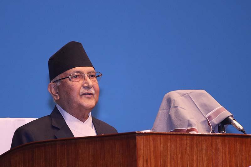 Prime Minister KP Sharma Oli addressing the House of Representatives in New Baneshwor, Kathmandu, on Wednesday, June 10, 2020. Photo: RSS