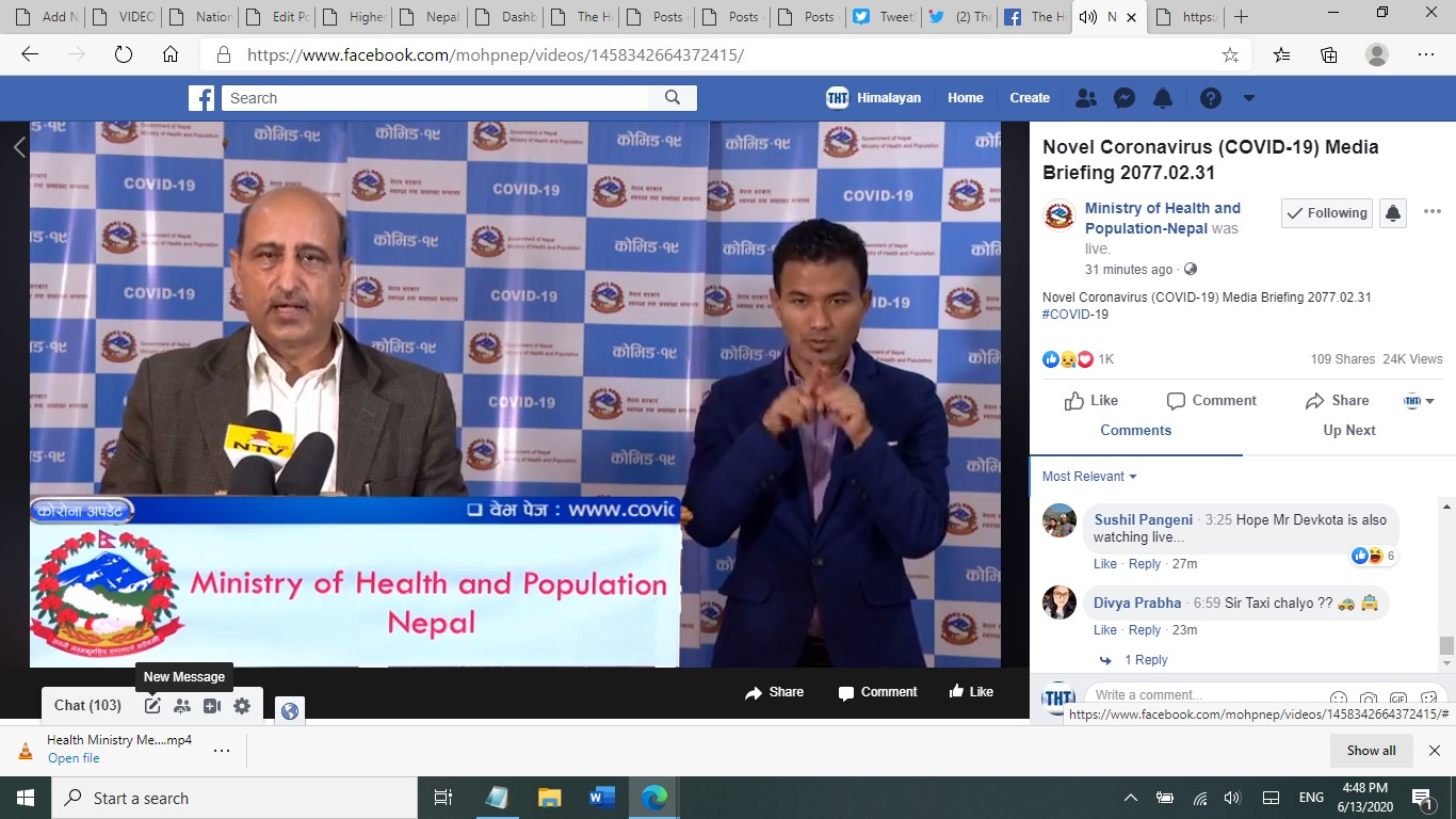 A screenshot of media briefing by the Ministry of Health and Population (MoHP) on COVID-19 response, as on Saturday, June 13, 2020.