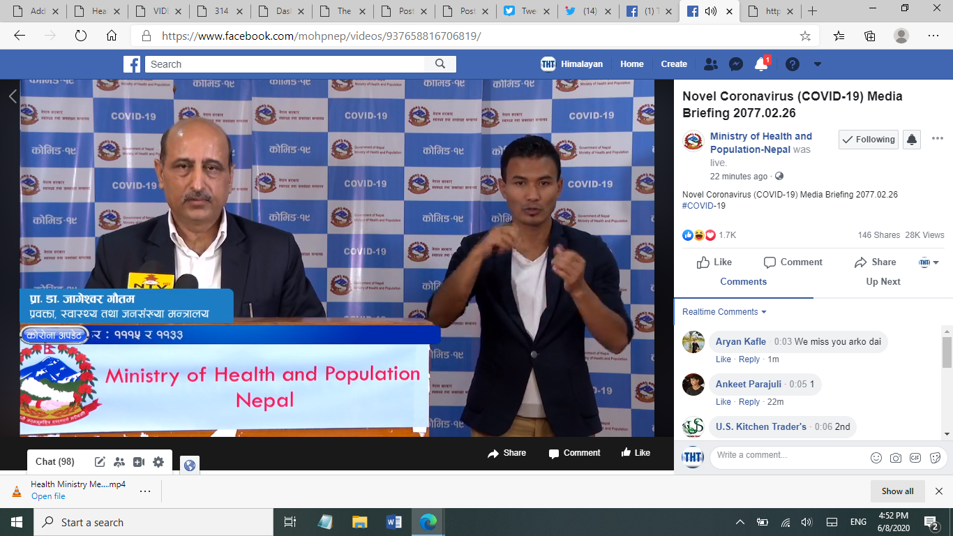 A screenshot of COVID-19 media briefing by the Ministry of Health and Population (MoHP), on Monday, June 8, 2020.