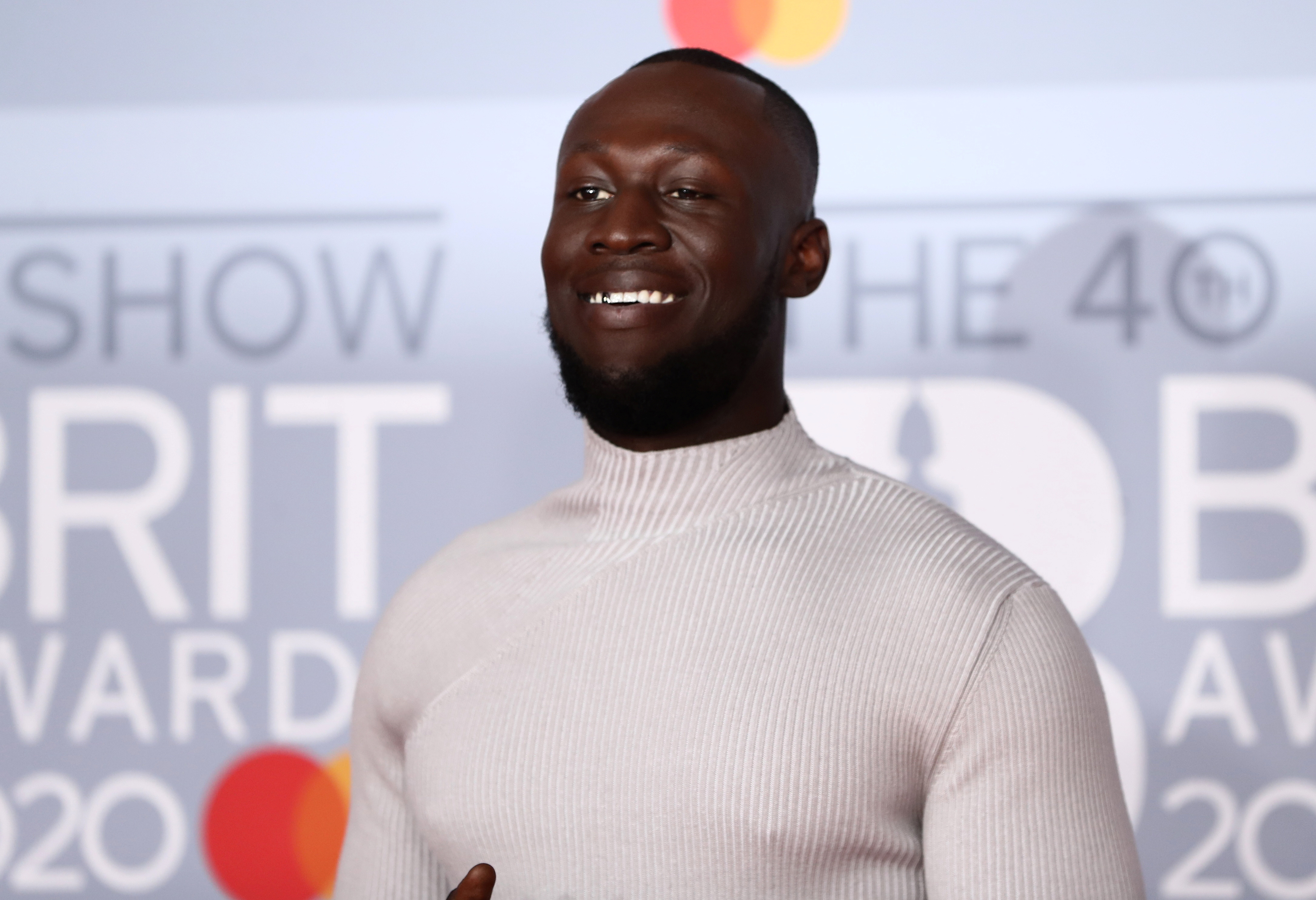 FILE - Stormzy poses as he arrives for the Brit Awards at the O2 Arena in London, Britain, February 18, 2020. Photo: Reuters