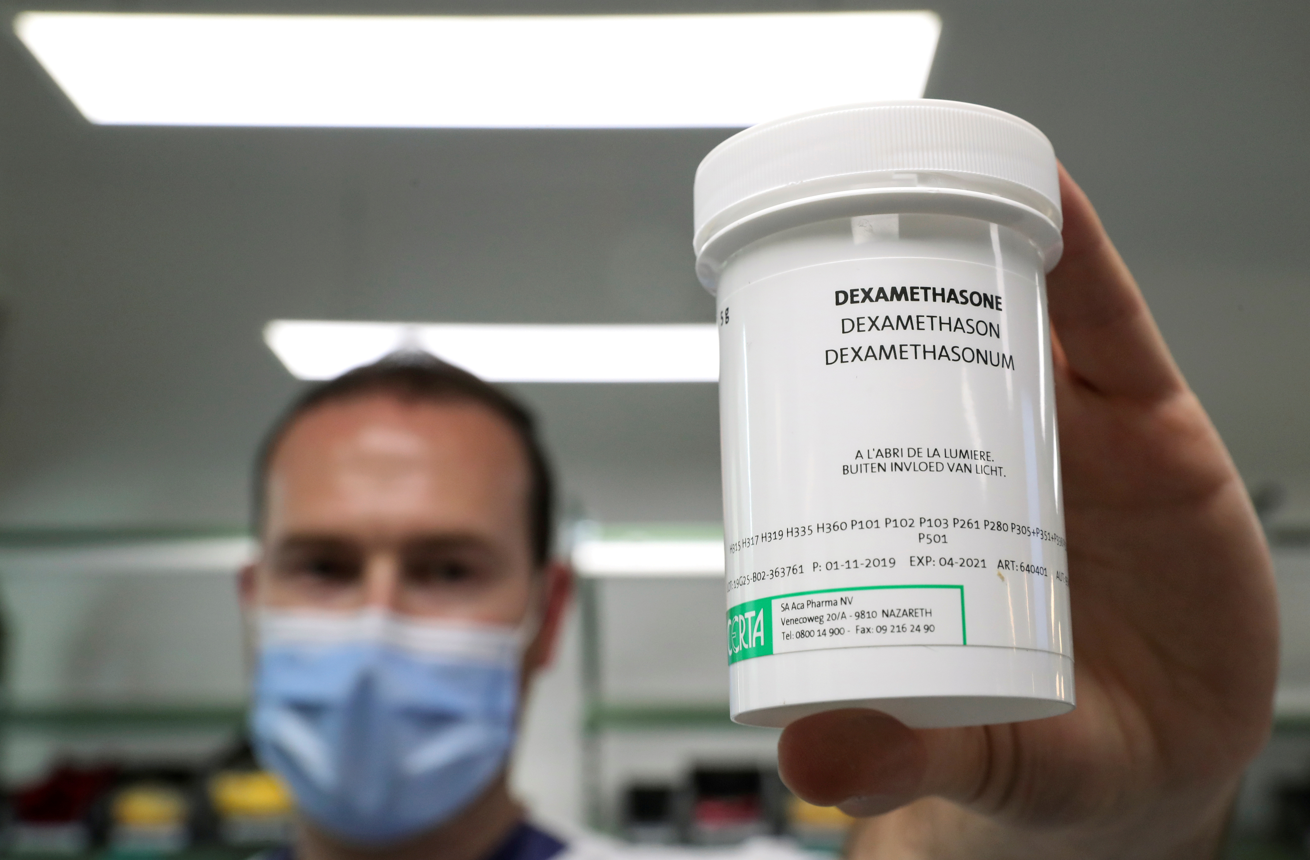 FILE - A pharmacist displays a box of Dexamethasone at the Erasme Hospital amid the coronavirus disease (COVID-19) outbreak, in Brussels, Belgium, June 16, 2020. Photo: Reuters