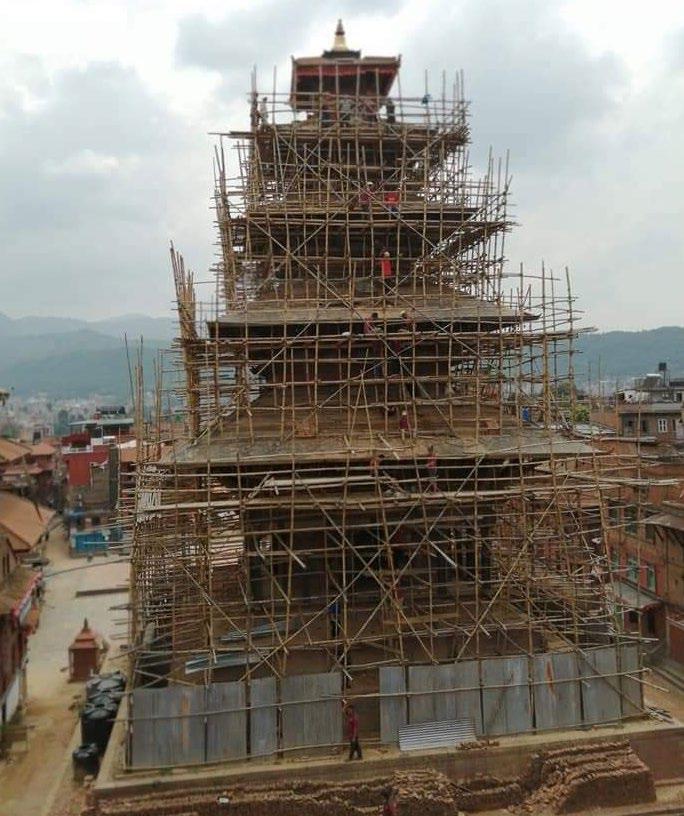 Local masons renovating roofs of Nyatapola Temple Photos: Courtesy Purna Gopal Rajchal / Shyam Sundar Matang