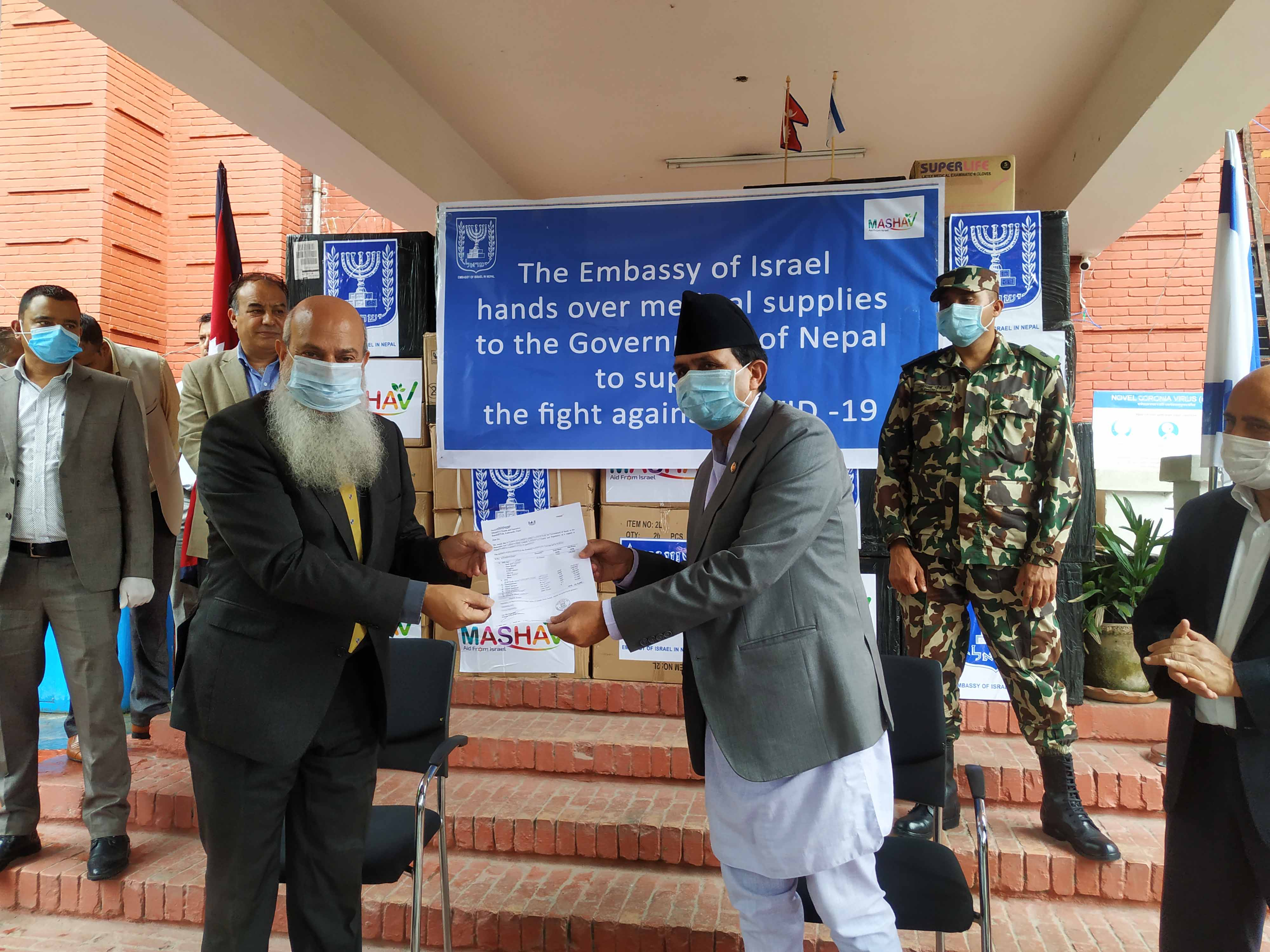 Ambassador of Israel to Nepal Benny Omer handed over medical supplies to Minister of Health and Population Bhanubhakta Dhakal, in Kathmandu, on June 16, 2020. Photo: Embassy of Israel in Nepal