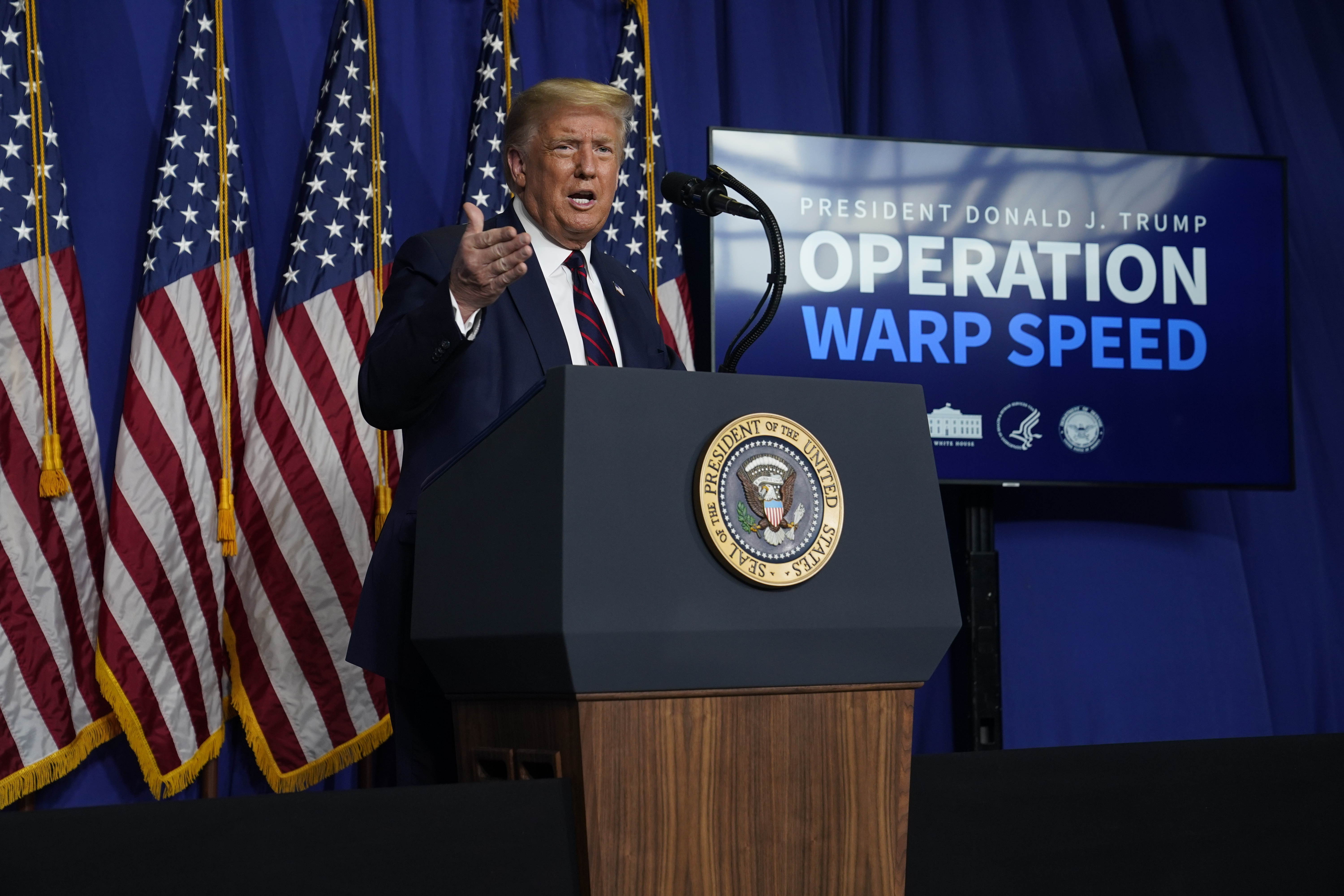 President Donald Trump speaks during a coronavirus briefing at Bioprocess Innovation Center at Fujifilm Diosynth Biotechnologies, Monday, July 27, 2020, in Morrisville, N.C. Photo: AP