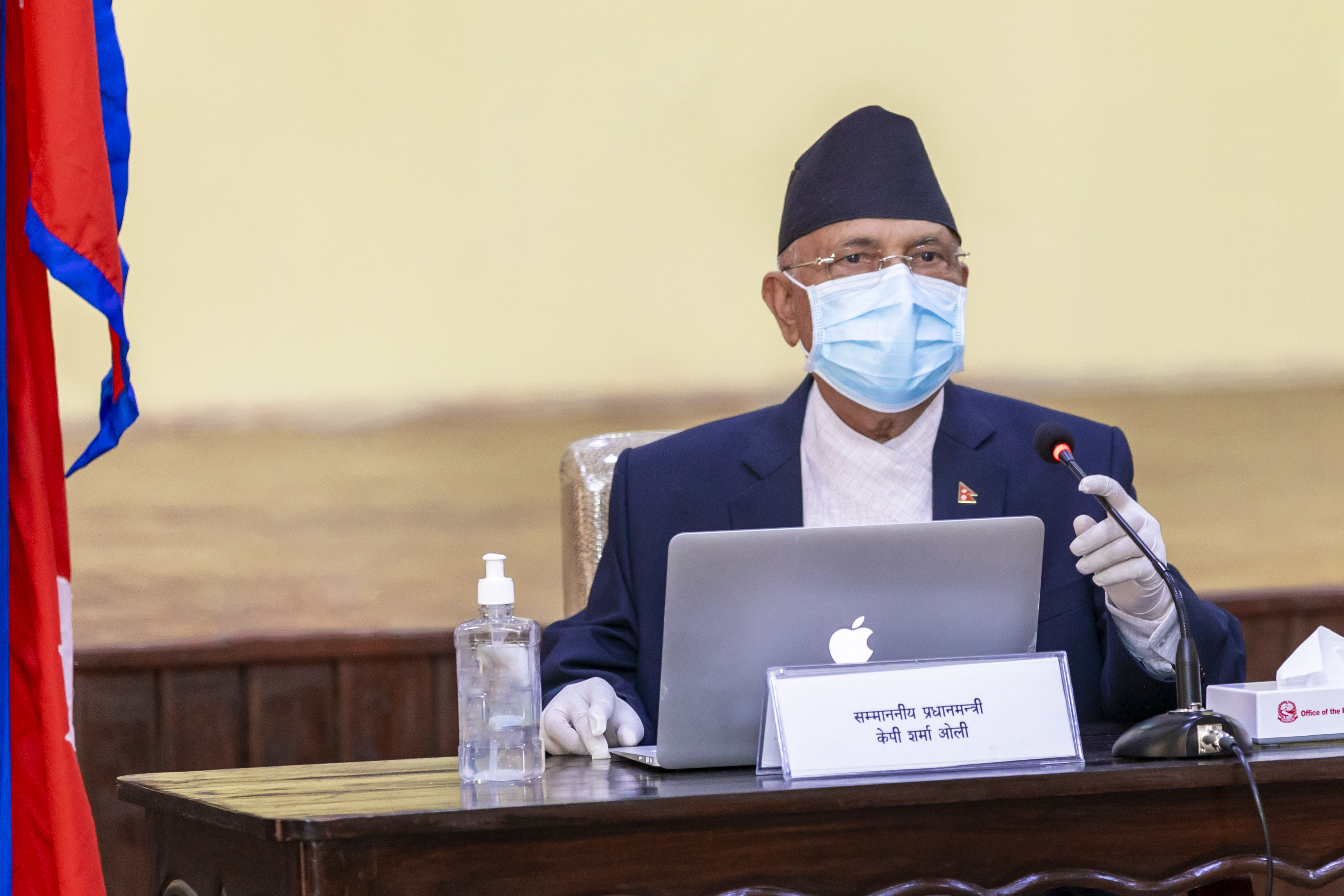 Prime Minister KP Sharma Oli addresses the Cabinet meeting held on Tuesday at the PM's official residence in Baluwatar. Photo courtesy: Rajan Kafle