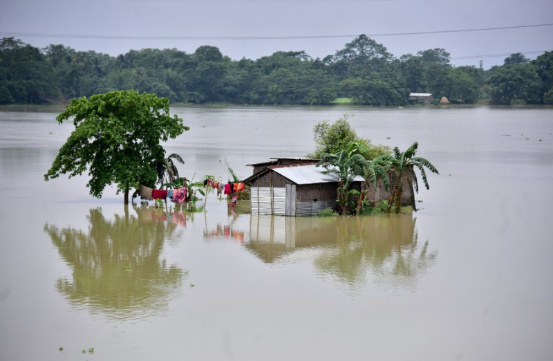 A partially submerged house is seen at the flood-affected Mayong village in Morigaon district, in the northeastern state of Assam, India, June 29, 2020. Photo: Reuters