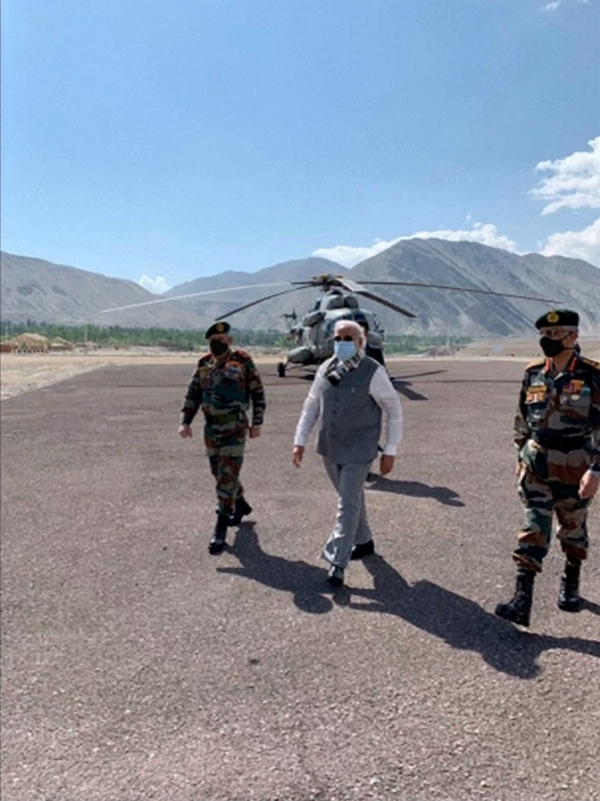 India's Prime Minister Narendra Modi visits India's Himalayan desert region of Ladakh, India, July 3, 2020, in this still image taken from video. Photo: ANI/ via Reuters