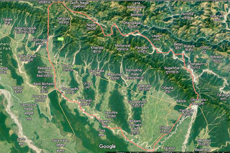 This satellite image shows the boundary of Kailali district in red outline. Image: Google image