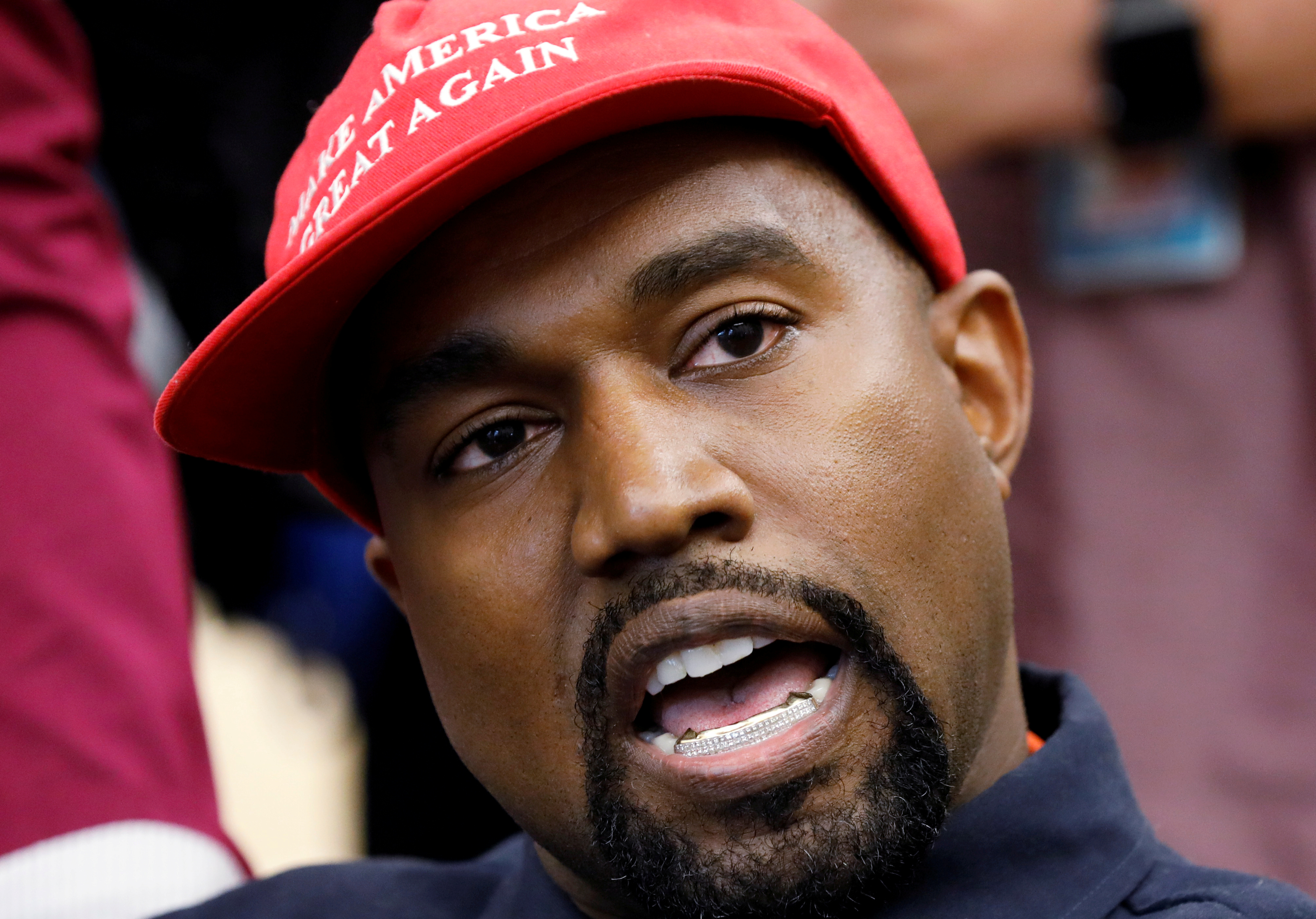FILE - Rapper Kanye West speaks during a meeting with US President Donald Trump to discuss criminal justice reform in the Oval Office of the White House in Washington, US, October 11, 2018. Photo: Reuters