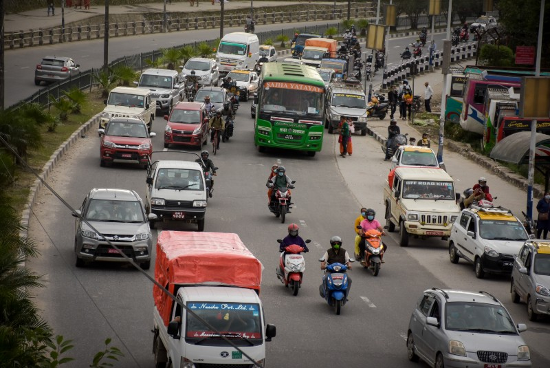 Vehicles moving along a busy road after the government lifted the lockdown, in Kathmandu, on Wednesday. Photo: Naresh Shrestha / THT