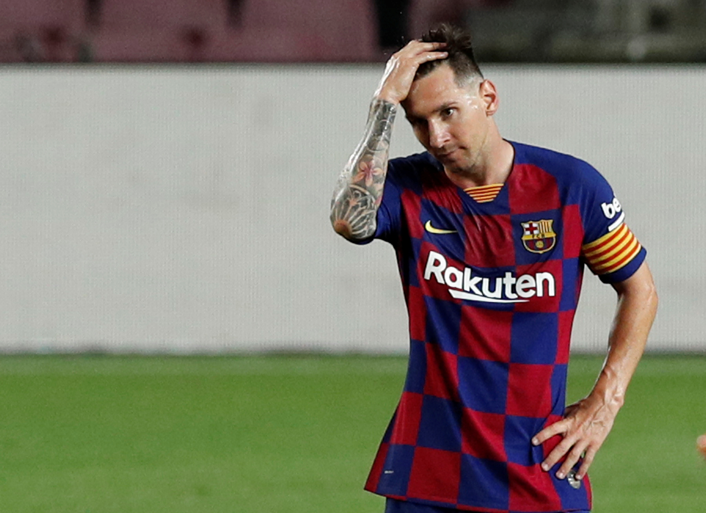 Barcelona's Lionel Messi reacts, as play resumes behind closed doors following the outbreak of the coronavirus disease (COVID-19) during the La Liga Santander match between FC Barcelona and Atletico Madrid, at Camp Nou, in Barcelona, Spain, on June 30, 2020. Photo: Reuters