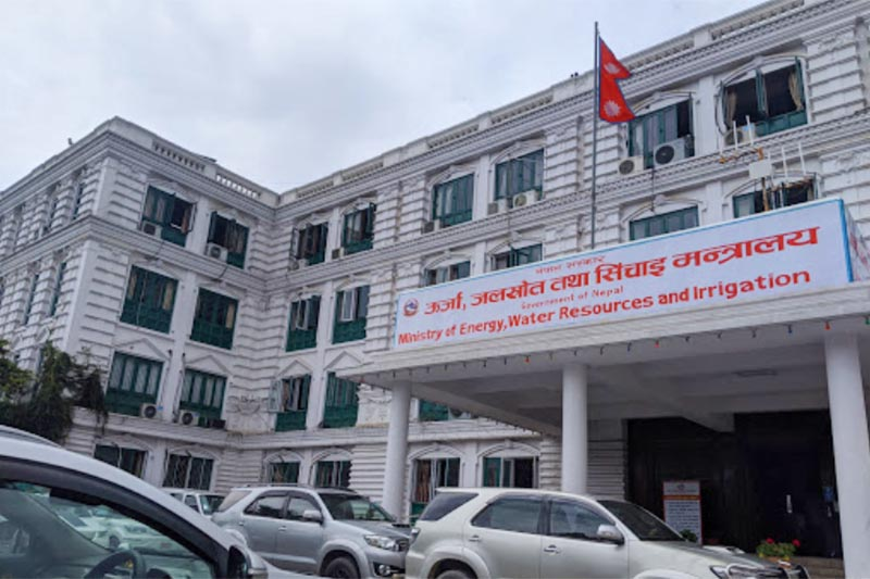 This image shows vehhicles parked outside the building of the Ministry of Energy, Water Resources and Irrigation in Singha Durbar, Kathmandu, in July, 2020. Photo: MoEWRI