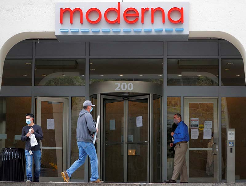 FILE -  A sign marks the headquarters of Moderna Therapeutics, which is developing a vaccine against the coronavirus disease (COVID-19), in Cambridge, Massachusetts, US, on May 18, 2020. Photo: Reuters