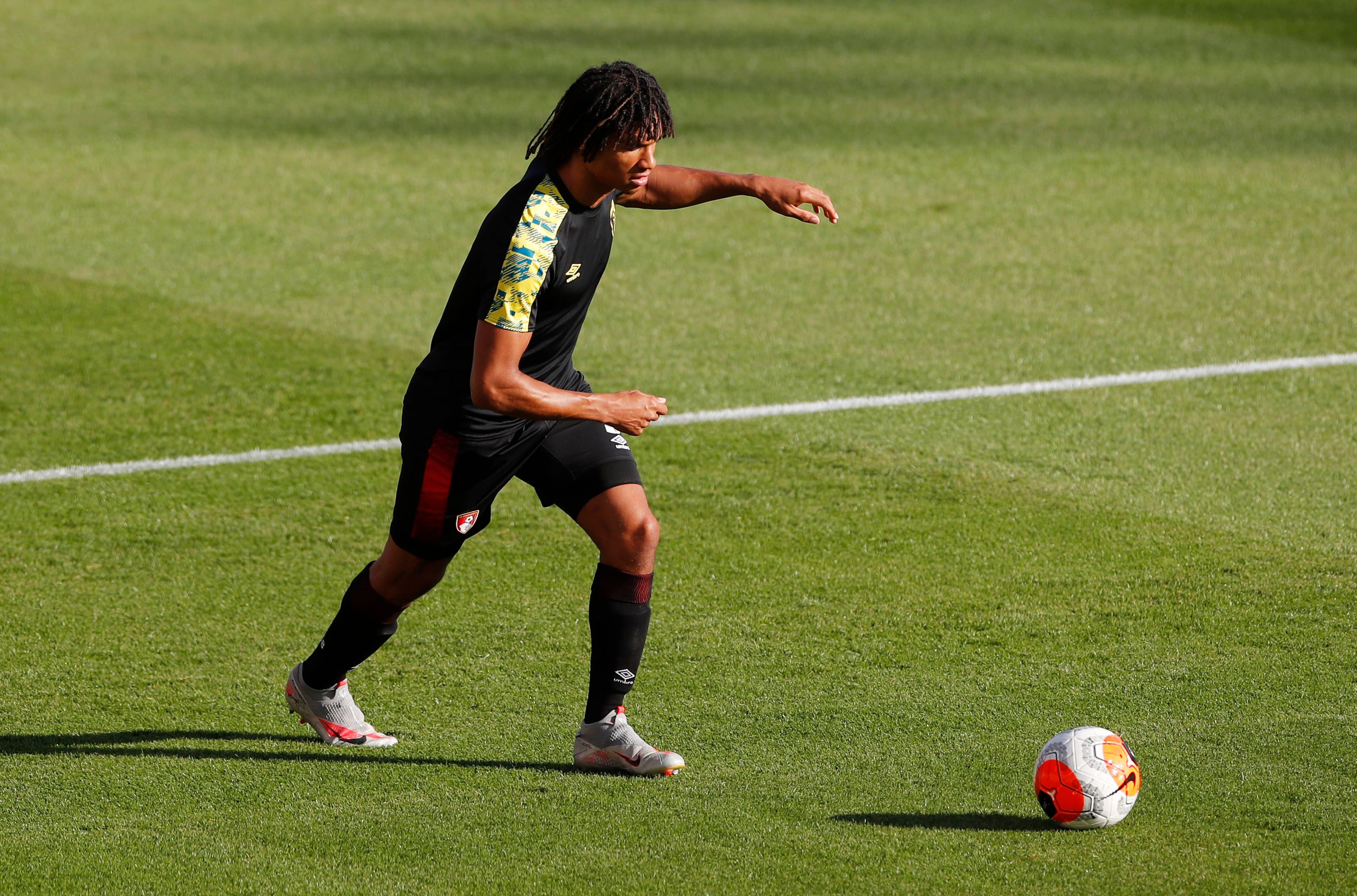Bournemouth's Nathan Ake during the warm up before the match, as play resumes behind closed doors following the outbreak of the coronavirus disease (COVID-19). Photo: Reuters