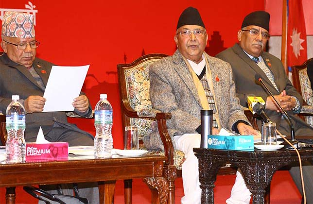 File - Nepal Communist Party (NCP) Co-chairpersons Prime Minister KP Sharma Oli and Pushpa Kamal Dahal, and senior leader and senior leader Madhav Kumar Nepal in the party's second plenary central committee meeting, at Rastriya Sabha Griha, Exhibition Road, in Kathmandu, on Wednesday, January 29, 2020. Photo: RSS