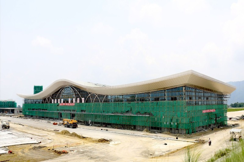 A view of the under-construction Pokhara Regional International Airport in Pokhara, on Saturday. Photo: THT