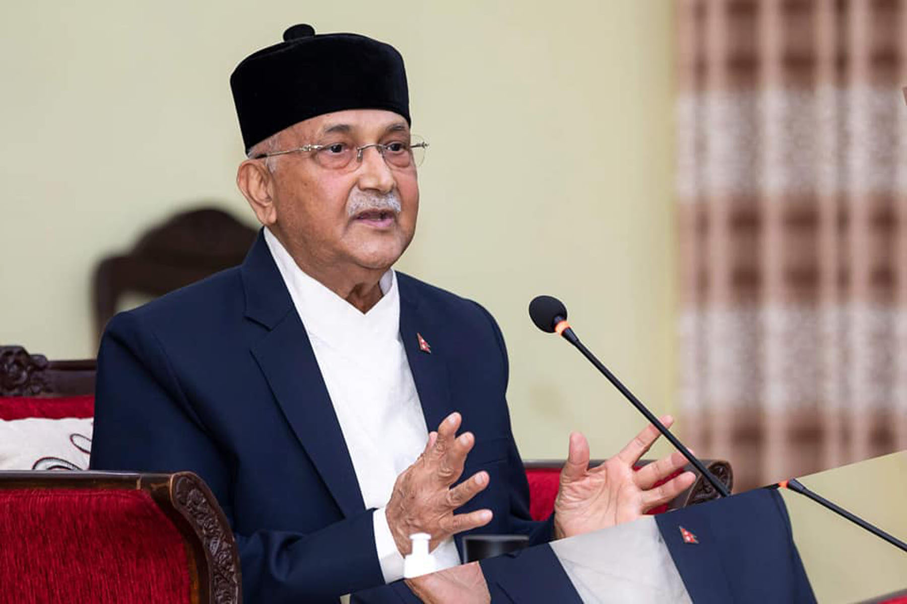 PM Oli as seen at the event in Baluwatar on Monday. Photo: RSS
