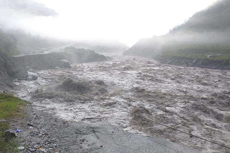 FILE - A view of flooded landscape in Tatopani area of Bhotekoshi Rural Municiaplity, in Sindhupalchok district, on Thursday, July 9, 2020. Photo: RSS