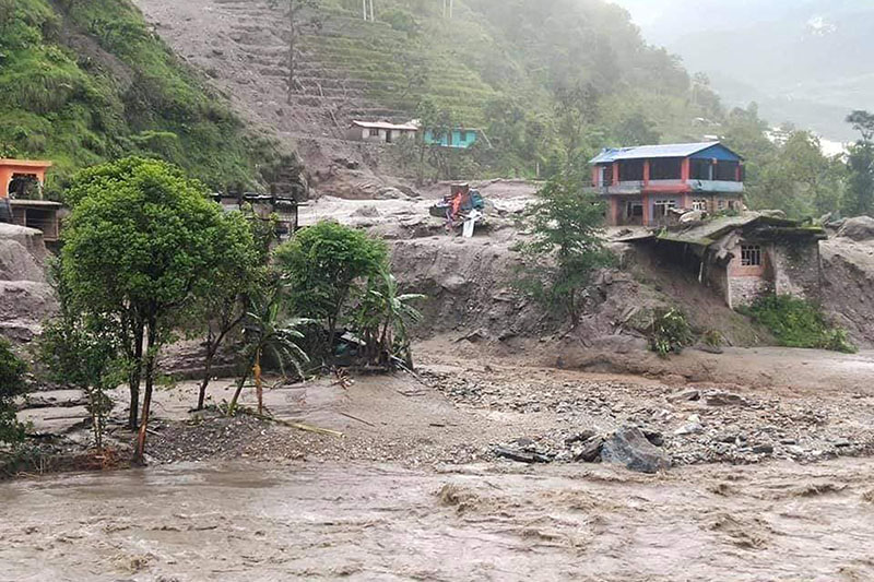 A view of Jambu Bazaar after flooded Thado River wreaked havoc in Gaati area of Bahrabise Municipality in Sindhupalchok district, on Thursday, July 9, 2020. Photo: RSS