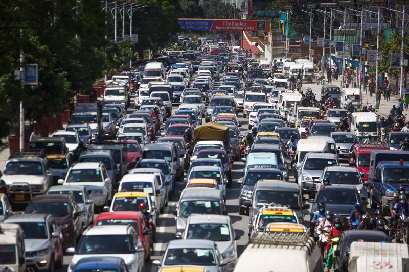 Long lines of vehicles wait at a police checkpoint causing a heavy traffic obsruction in Kathmandu on Friday, July 17. Photo: Skanda Gautam/THT