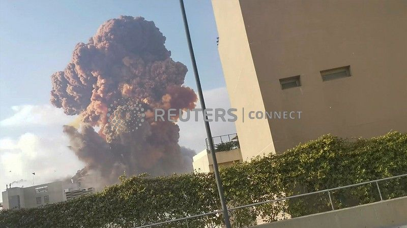 Smoke rises after an explosion in Beirut, Lebanon August 4, 2020, in this picture obtained from a social media video. Karim Sokhn/Instagram/Ksokhn + Thebikekitchenbeirut/via REUTERS THIS IMAGE HAS BEEN SUPPLIED BY A THIRD PARTY. MANDATORY CREDIT. NO RESALES. NO ARCHIVES.     TPX IMAGES OF THE DAY