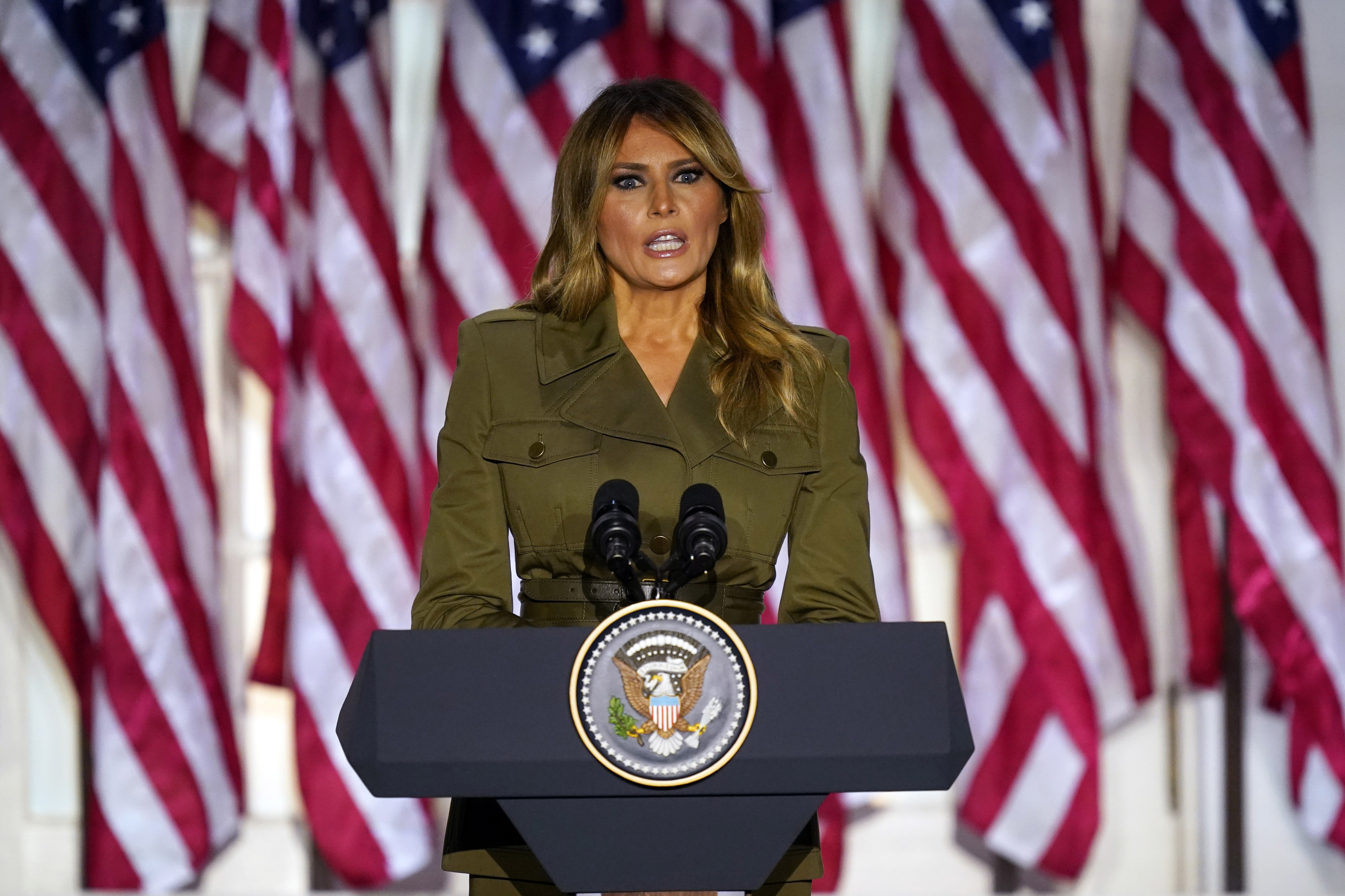 First lady Melania Trump speaks on the second day of the Republican National Convention from the Rose Garden of the White House, Tuesday, Aug. 25, 2020, in Washington. Photo: AP