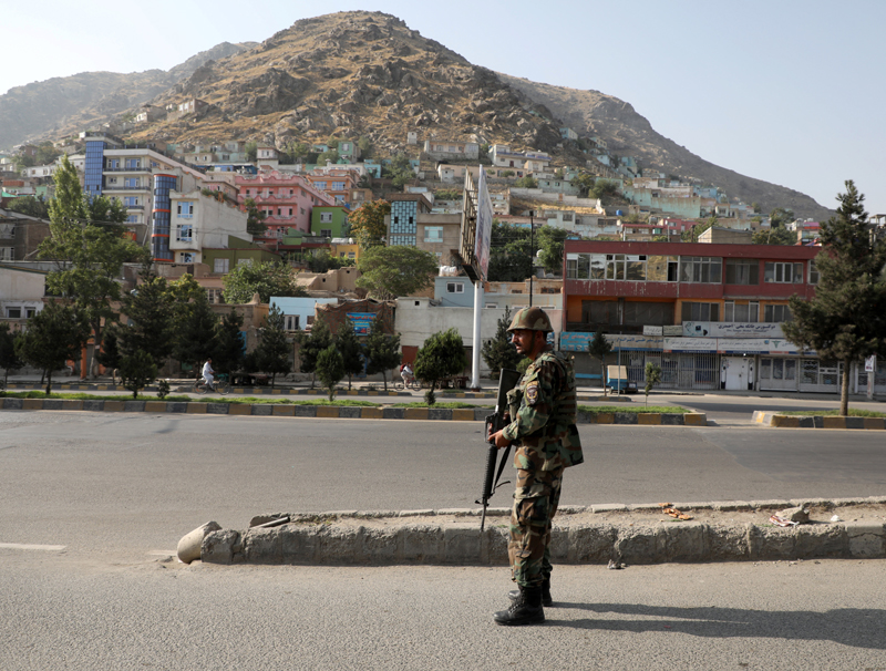 An Afghan National Army (ANA) soldier keeps watch at the area where the Loya Jirga holding in Kabul, Afghanistan August 7, 2020. Photo: Reuters