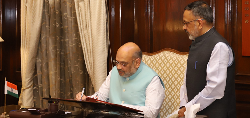 India's Home Minister Amit Shah, with Home Secretary Shri Rajiv Gauba, taking charge of office in New Delhi on Saturday, June 1, 2019. Photo Courtesy: Governemnt of India, Ministry of Home Affairs