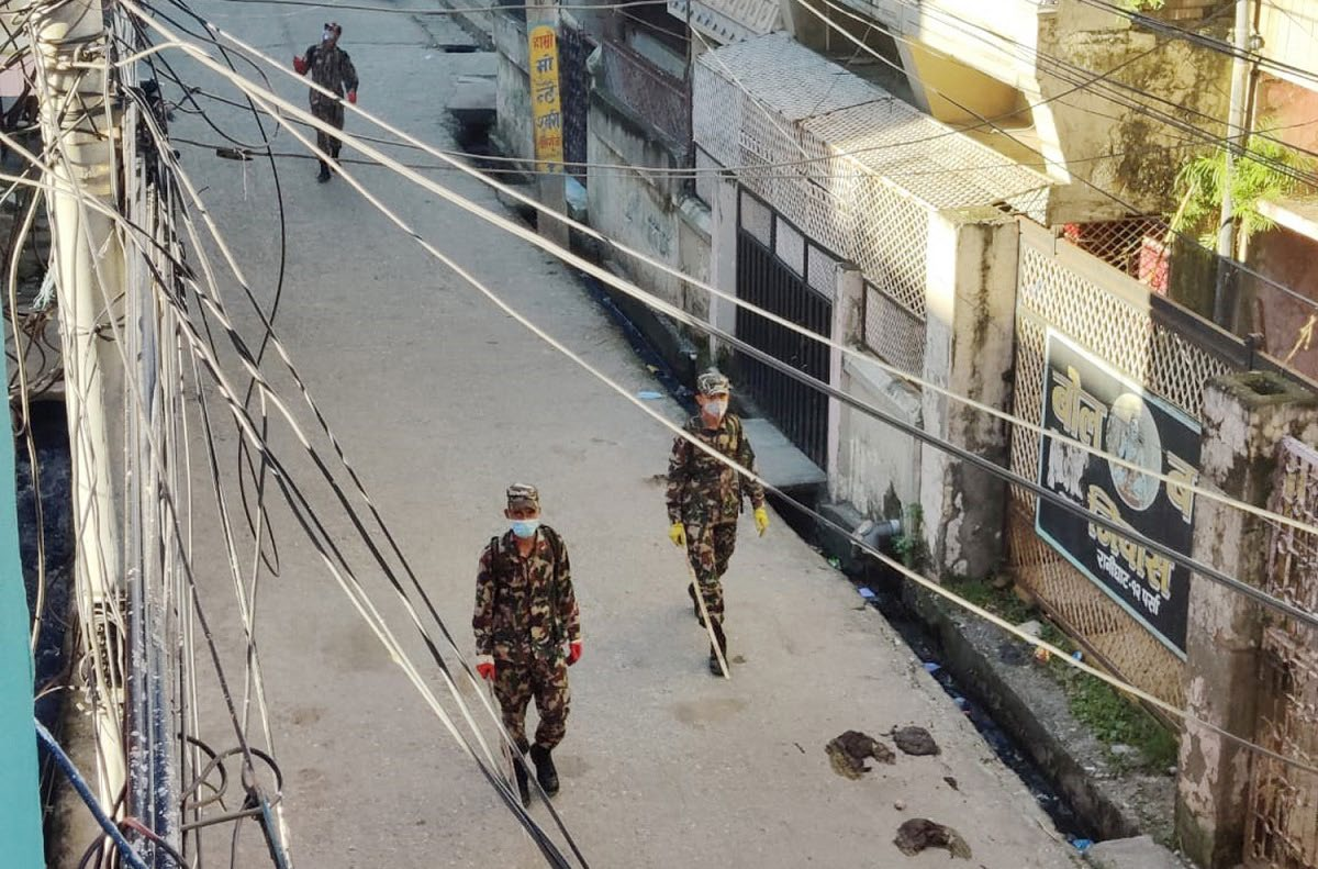 FILE - Nepali Army personnel patrolling a street to enforce prohibitory order in Birgunj, on Sunday. Photo: THT