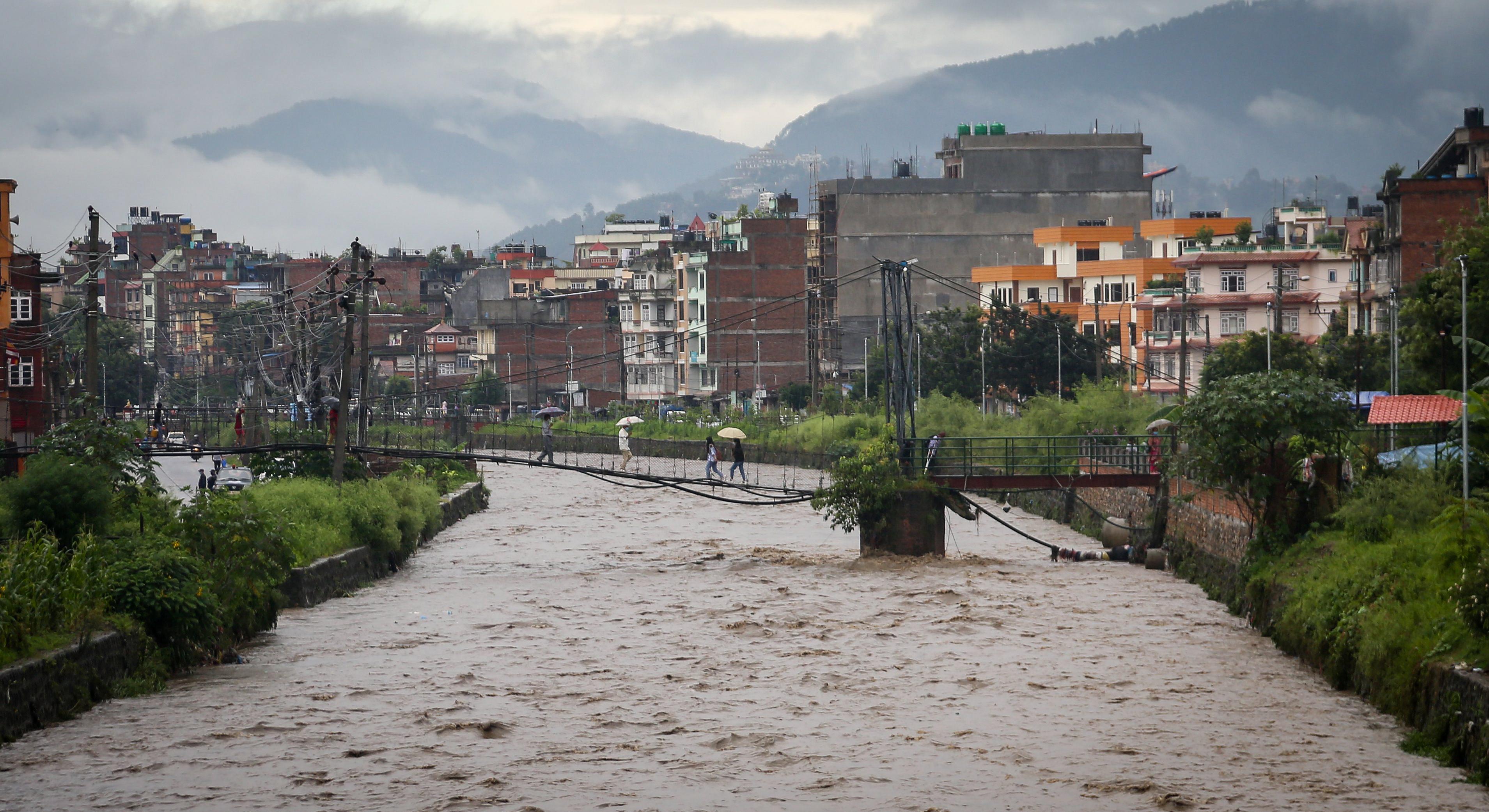 Bishnumati river at Kankeshwari, Kathmandu swells due to continuous rainfall, as seen on Tuesday, August 18, 2020. Photo: Naresh Shrestha/THT