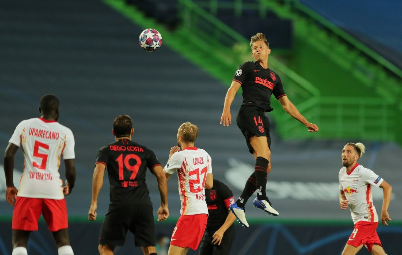 Atletico Madrid's Marcos Llorente in action during the Champions League Quarter Final match between RB Leipzig and Atletico Madrid, at Estadio Jose Alvalade, in Lisbon, Portugal, on August 13, 2020, as play resumes behind closed doors following the outbreak of the coronavirus disease (COVID-19). Photo: Miguel A. Lopes/Pool via Reuters