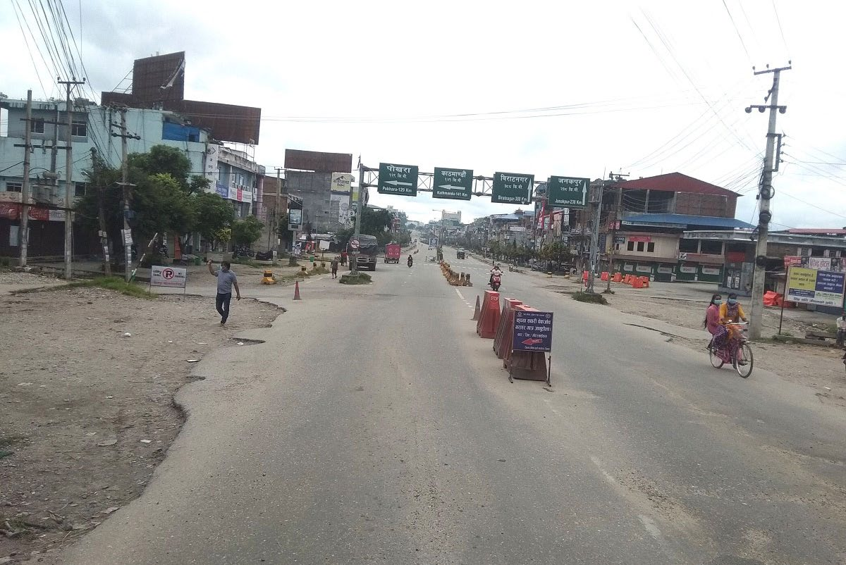 Narayangadhu2019s Pulchowk wears a deserted look after Chitwan DAO imposed a prohibitory order, on Sunday. Photo: THT