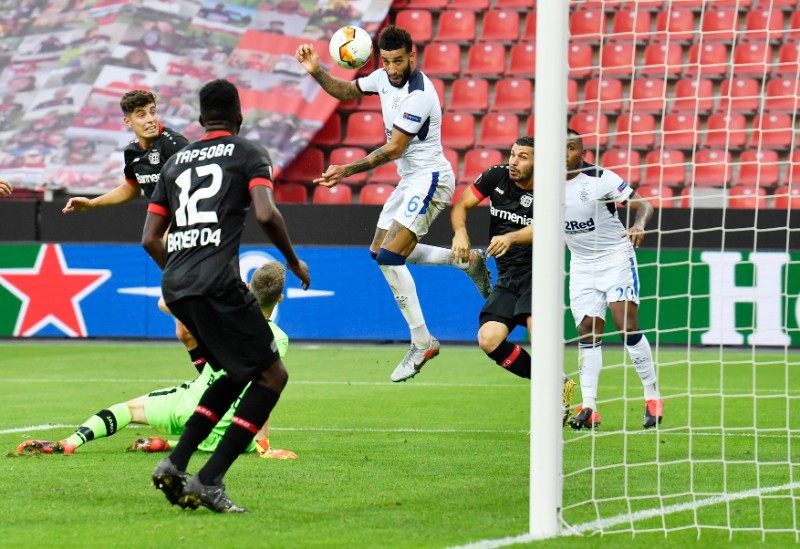 Rangers' Connor Goldson shoots at goal during the Europa League Round of 16 Second Leg match between Bayer Leverkusen and Rangers, at BayArena, Leverkusen, in Germany, on August 6, 2020, as play resumes behind closed doors following the outbreak of the coronavirus disease (COVID-19). Photo: Pool via Reuters