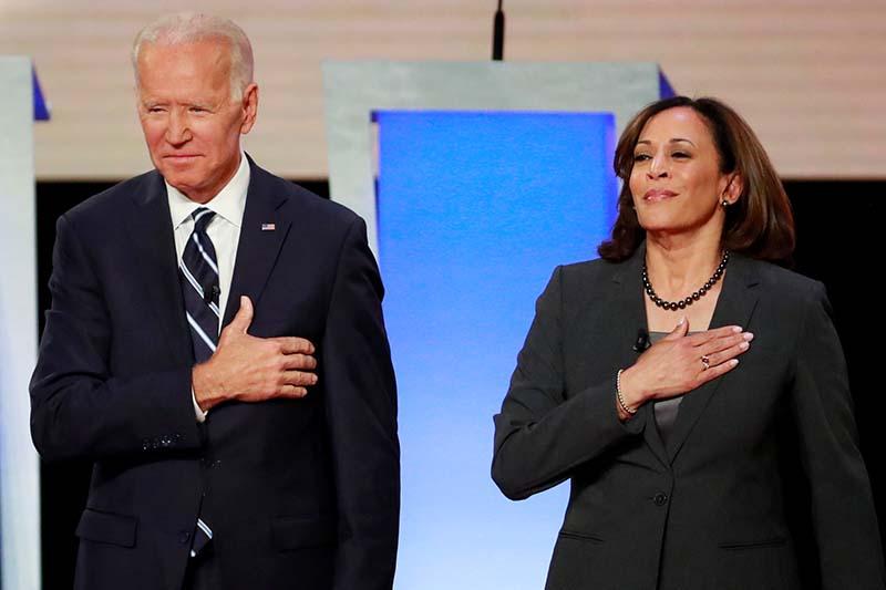 File - Former Vice President Joe Biden and US Senator Kamala Harris take the stage before the start of the second night of the second US 2020 presidential Democratic candidates debate in Detroit, Michigan, US, on July 31, 2019. Photo: Reuters