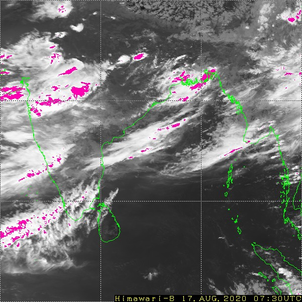 The image shows  high potential rainfall areas from Himawari Satellite. Photo Courtesy: Meteorological Satellite Center of JMA